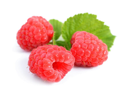 healthy path: Raspberry isolated on white background.