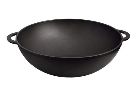 Empty iron wok. Isolated on white background. Zdjęcie Seryjne - 31058806