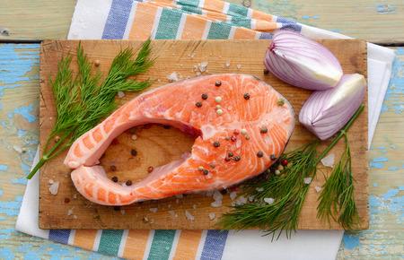 dog salmon: Salmon stake on board