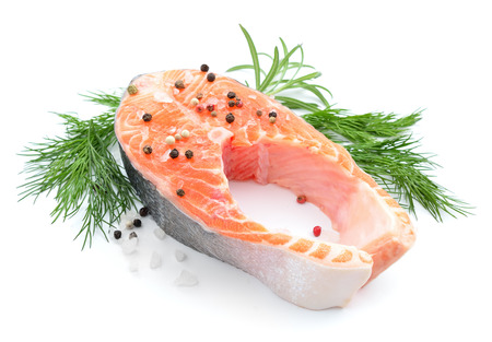 Salmon stake isolated Stock Photo