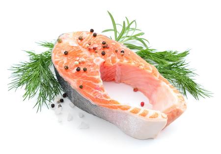 dog salmon: Salmon stake isolated Stock Photo