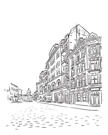 tower house: Antique European street. Vector sketch.