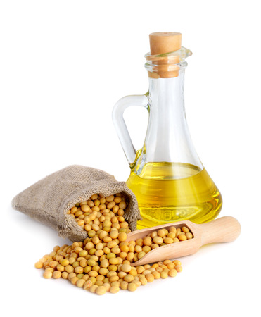 Soybean oil in a bottle. Isolated on white backgraund.