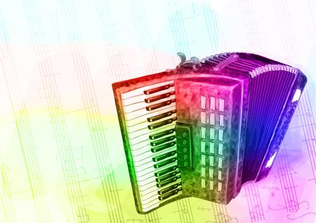 Fisarmonica. Colori Iridescen. Illustrazione vettoriale.