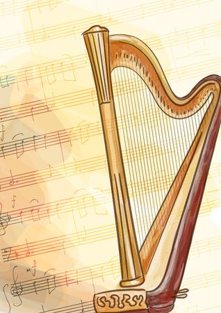 the harp: Arpa. Ilustración del vector.