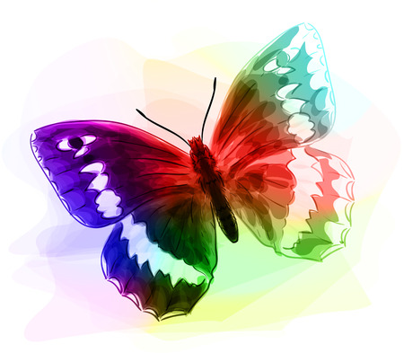 Butterfly. Iridescen colours. Unfinished Watercolor drawing imitation. Vector illustration.