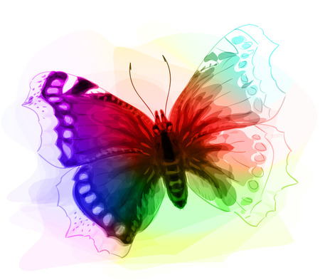 schmetterlinge blau wasserfarbe: Butterfly. Iridescen Farben. Unfinished Aquarell Zeichnung Nachahmung. Vektor-Illustration.