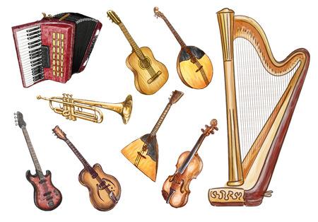 tambourine: Musical instruments. Vector set.