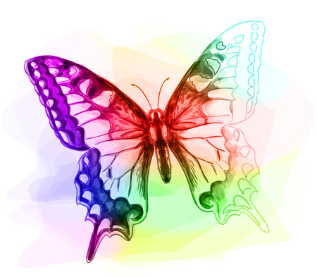 unfinished: Butterfly. Iridescen colours. Unfinished Watercolor drawing imitation. Vector illustration. Illustration