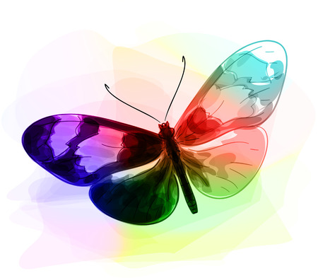 out of body: Butterfly. Iridescen colours. Unfinished Watercolor drawing imitation. Vector illustration. Illustration
