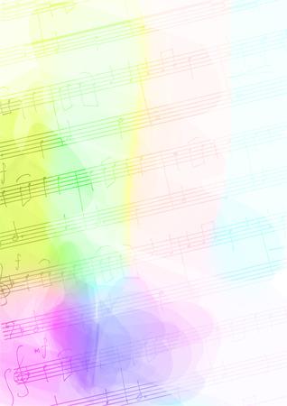 Kleur Achtergrond met handgemaakte muzieknoten. Vector illustratie.