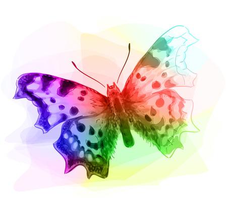 unfinished: Mariposa. Colores Iridescen. Unfinished imitaci�n Gr�fico de la acuarela. Ilustraci�n del vector.