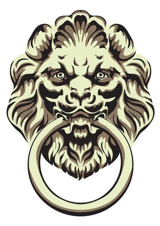 manejar: La cabeza de un león - manija de la puerta. Ilustración del vector. Vectores