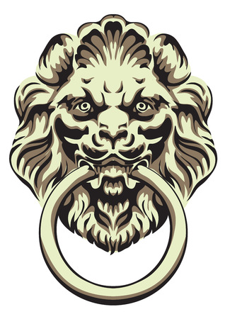 door handle: The head of a lion -  door handle. Vector illustration.