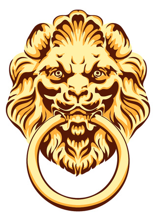 knocker: The head of a lion -  door handle. Vector illustration.