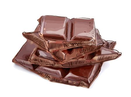Stukken van chocolade. Vector illustratie. Stock Illustratie