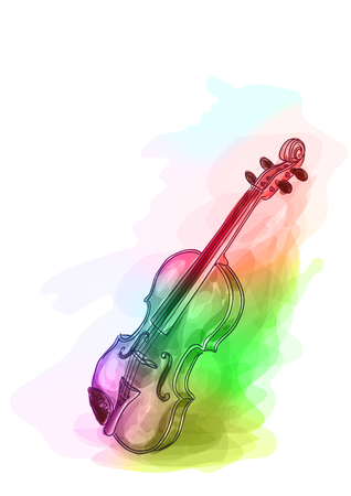 bluegrass: Violin in iridescen colours. Vector illustration. Illustration