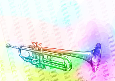 classical theater: Brass Trumpet. Iridescen colours. Vector illustration.