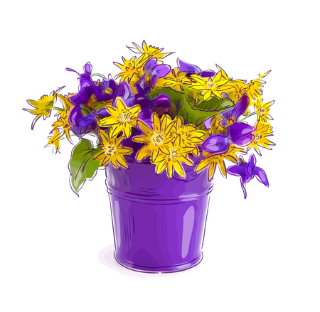 Small bouquet with meadow flowers in a bucket. Vector illustration.