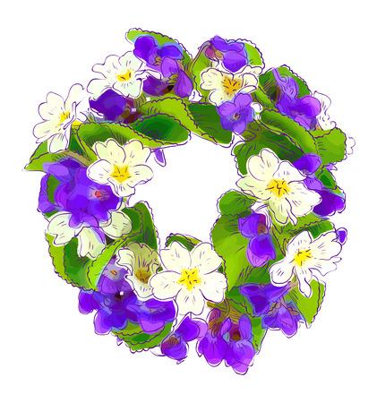 primrose: Wreath of woodland violets and primula. Vector illustration.