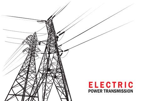 Elektrický přenos výkonu. Vektorové silueta. Ilustrace