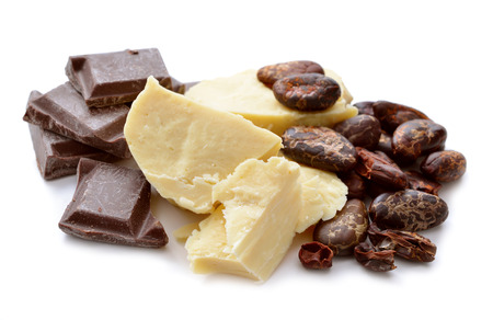 butter: Cocoa butter vith nibs and chocolate. Isolated on white background. Stock Photo