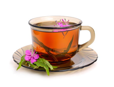 Tea with rosebay willowherb in  glass. Isolated on white background.