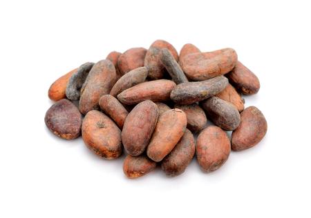 frijoles: Los granos de cacao antes de asado. Aislado en el fondo blanco. Foto de archivo