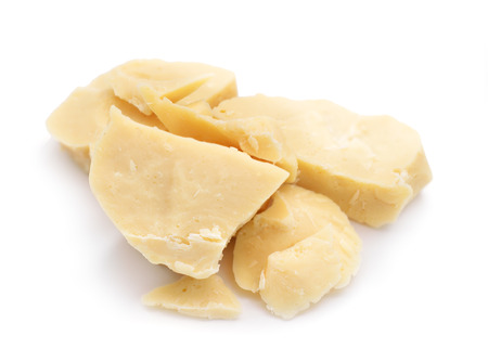 Cocoa butter isolated on white background.