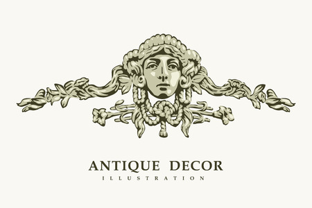 mythology: Classical antique decor with female portrait. Vector illustration.