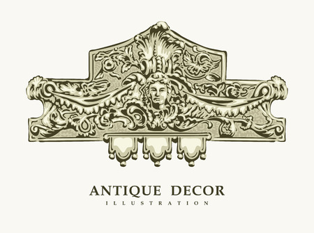 heads old building facade: Classical antique decor with female portrait. Vector illustration.