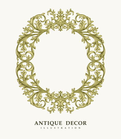 heads old building facade: Classical antique gold frame.  Vector illustration. Illustration