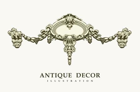 heads old building facade: Classical antique decor. Vector illustration.