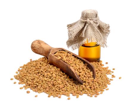 fenugreek: Fenugreek seed with pharmaceutical bottle. (Trigonella foenum-graecum)
