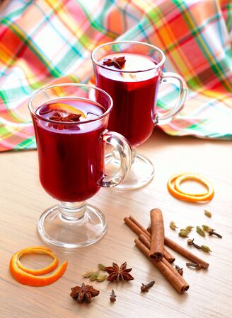 Bright still life with mulled wine Stock Photo
