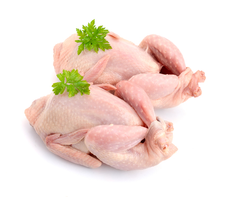 Quail meat. Isolated on white background.