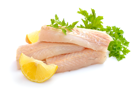 Raw Hake fish fillet pieces. Isolated on white background. Archivio Fotografico