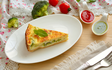 pastry crust: Quiche is a savoury, open-faced pastry crust with a filling of savoury custard with cheese, Broccoli and mushrooms.