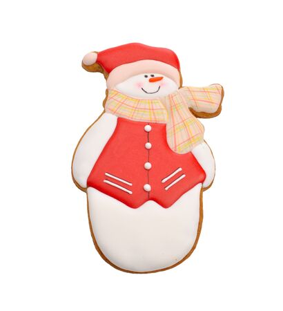 christmas cake: Snowman gingerbread. Isolated.