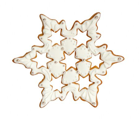 Snowflake gingerbread Isolated on white background. Stock Photo