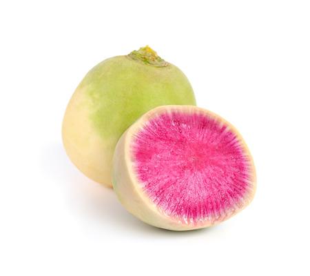 dikon: Whole and Sliced Watermelon radish isolated on white bacground