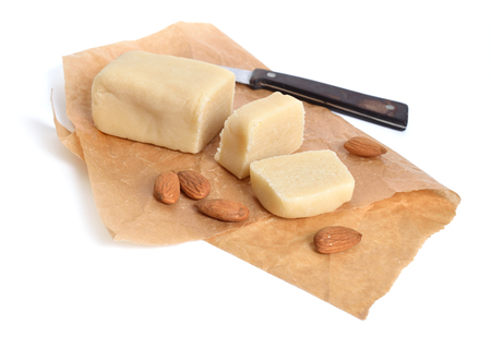 Homemade Marzipan with almonds. Isolated.