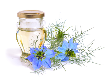 Nigella. Common names devil-in-a-bush or love-in-a-mist. With oil. Isolated. Stockfoto