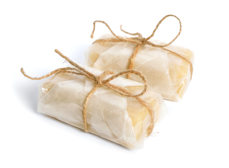 Packed Homemade Marzipan with almonds. Isolated.