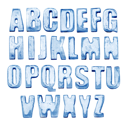 Ice Alphabet. Isolated on white. Real photos of frozen letters. 스톡 콘텐츠