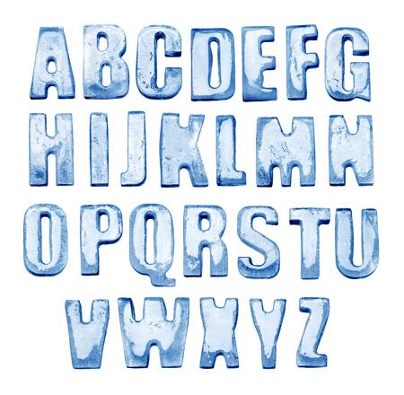 Eis Alphabet . Isoliert auf weiß . Echte Kosten von 5 Buchstaben
