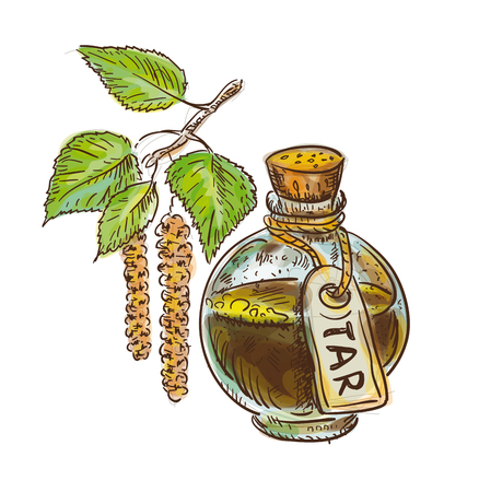 Birch coal tar in bottle with twig. Watercolor imitation with sketch. Vector illustration. Illustration