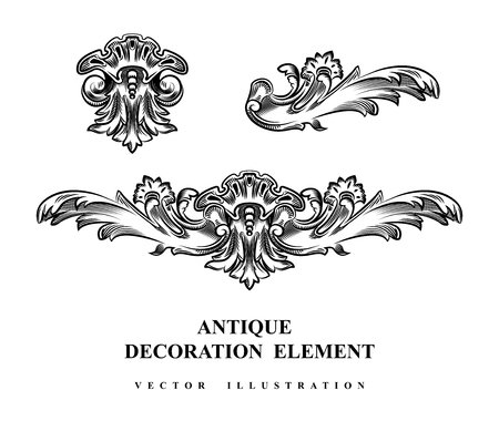 Vintage architectural Decoration elements for design. Vector illustration. Çizim