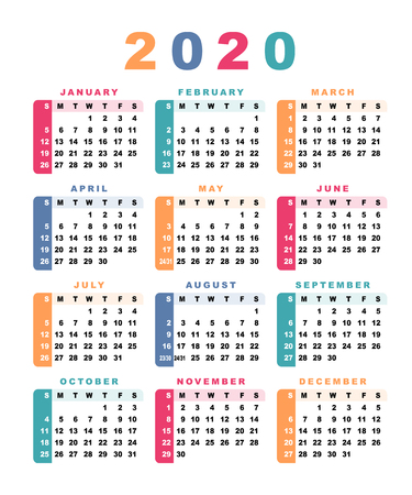 Calendar 2020 (week starts with sunday). Vector illustration. Illustration