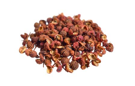Sichuan pepper, Sichuan peppercorn, Szechuan pepper or Szechuan peppercorn isolated on white background.